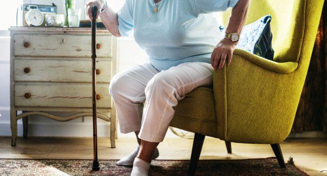 Senior woman sitting on the chair